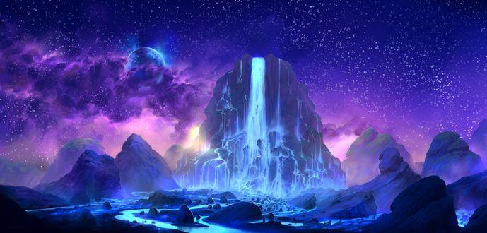 Обои Красивый водопад на фоне космоса, автор Lorant Toth