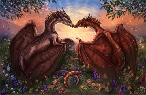 Обои Два целующихся дракона на фоне природы, by FlashW