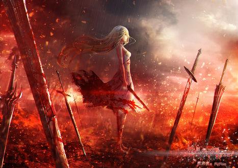 Обои Девушка с мечом в руках, автор Fufu