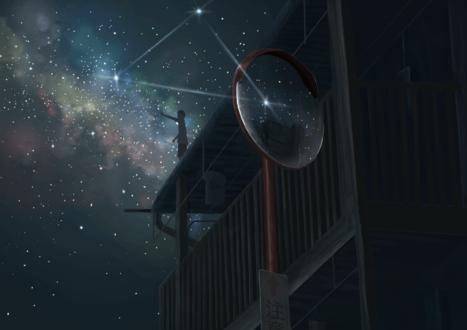 Обои Парень пытается дотянуться до звезды, стоя на крыше