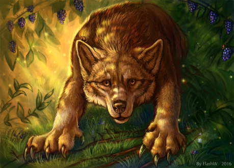 Обои Серый волк на фоне природы, by FlashW