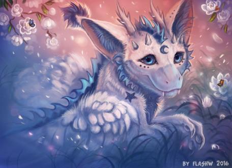 Обои Белый дракончик с полумесяцем на лбу на фоне цветущих цветов, by FlashW