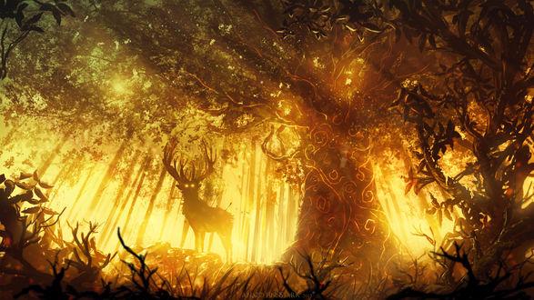 Обои Олень под большим деревом, автор Anato Finnstark