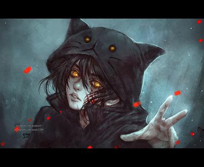 Обои Девушка (или парень) с окровавленным лицом, одетая в черную кофту с капюшоном в виде кошачьей мордочки, протягивает руку, by NanFe