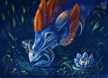 Обои Дракон держит рыбу в пасти на фоне природы, by FlashW
