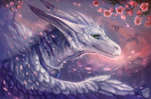 Обои Белый дракон на фоне цветущих цветов сакуры, by FlashW