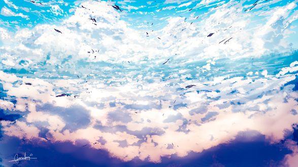 Обои Голубое облачное небо