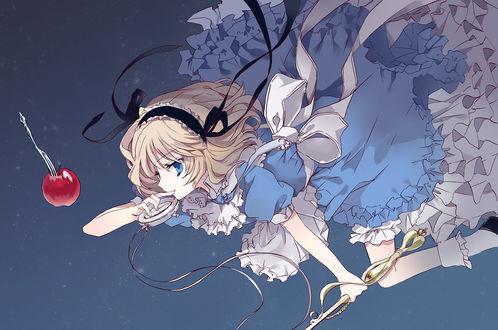 Обои Алиса Маргатройд / Alice Margatroid с часами и ключом в образе Алисы в Стране Чудес, из аниме и игры Touhou Project / Проект Восток, by Ra Bit