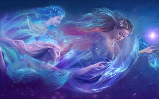 Обои Три эльфийки в веночках парят в космосе за кристаллом