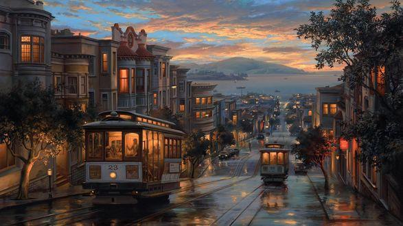 Обои Вечер, по улице города ходят трамваи, художник Евгений Лушпин