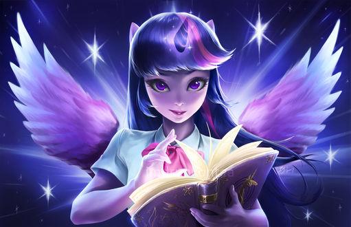 Обои Сумеречная Искорка / Twilight Sparkle из мультсериала Мой маленький пони: Дружба – это чудо / My Little Pony: Friendship is Magic / MLP:FiM, by imDRUNKonTEA