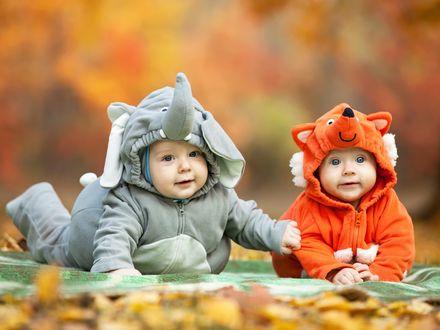 Обои Два забавных ребенка в комбинезонах в виде слоника и лисицы лежат на покрывале в парке