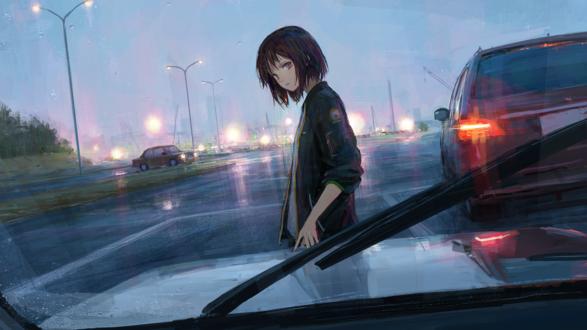 Обои Девушка стоит у авто на дождливой дороге