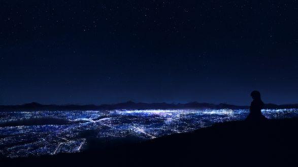 Обои Силуэт девушки на фоне ночного города