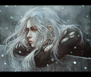 Обои Грустная девушка под падающим снегом, by NanFe