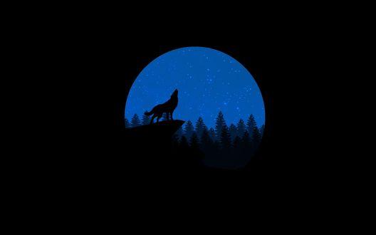 Обои Силуэт волка, что воет на луну на фоне ночного неба