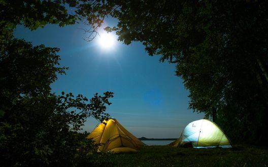 Обои Через проем между деревьями видно туристические палатки, расположенные на площадке и освещенные лунным светом