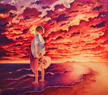 Обои Девочка стоит в воде на фоне облачного неба