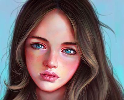 Обои Девушка с голубыми глазами, by little zepig