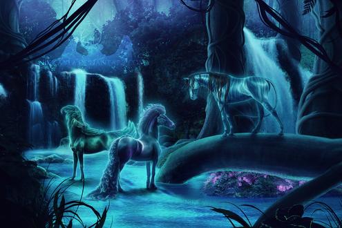Обои Фантастические лошади у водопадов, by Nikkayla
