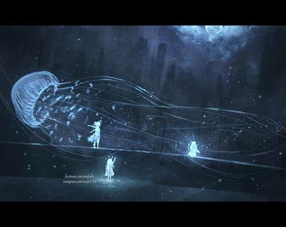 Обои Три призрачных девочки и огромная медуза на улице ночного города, by NanFe