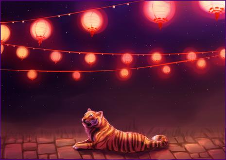 Обои Тигр лежащий под фонарями, by RayCrystal