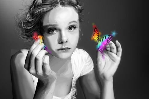 Обои Девушка с бабочкой в руках, by alwaysjjang