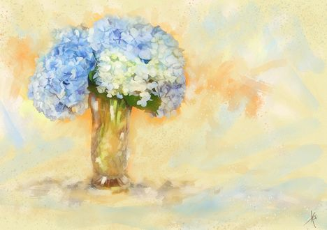 Обои Букет голубой гортензии с стеклянной вазе, акварельный рисунок