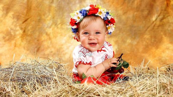 Обои Девочка в венке из цветов, сидящая на сене