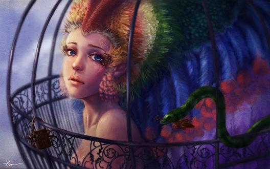 Обои Девушка-эльфийка с цветными волосами в клетке с змеей держащая ключ в пасти, by yangtianli