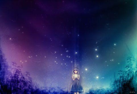 Обои Девушка стоит под звездным небом