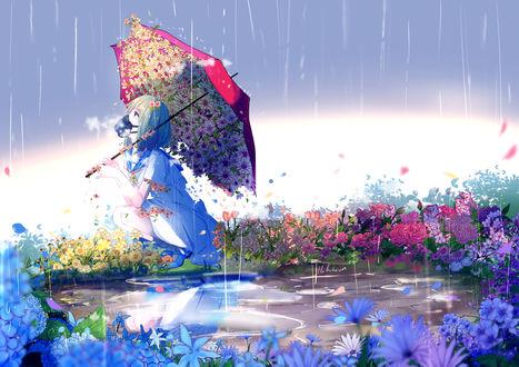 Обои Девушка, окруженная цветами, под цветочно-красным зонтом, автор Lluluchwan