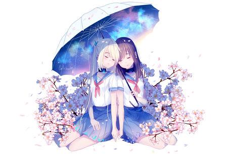 Обои Две девушки под зонтом, автор Lluluchwan