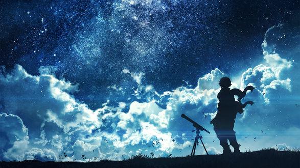 Обои Силуэт парня с телескопом, автор c. c. R