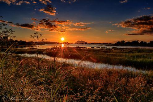 Обои Закат на реке Samish, фотограф Thomas Kong