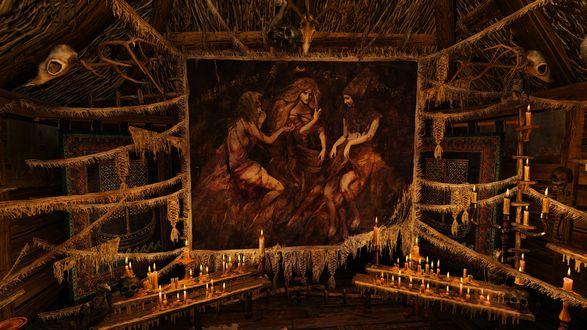 Обои Гобелен с тремя женщинами висит на чердаке среди черепов и свечей из игры The Witcher / Ведьмак
