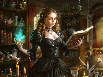 Обои Девушка в черном платье изучает магию в лаборатории алхимии из игры Legend of the Cryptids