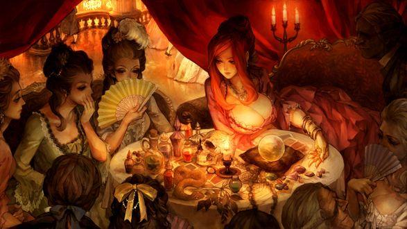 Обои Дамы в платьях XVIII в. занимаются спиритизмом, сидя за столом при свечах, из игры Dragons Crown