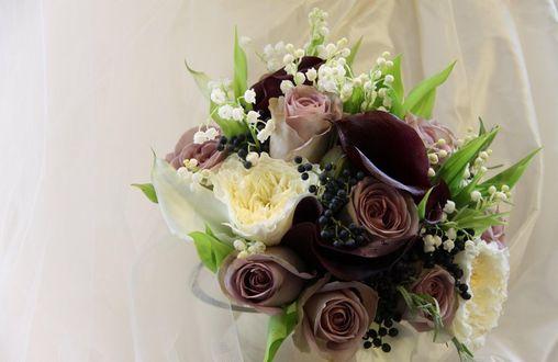Обои Композиция-букет из белых и чайных роз, ландышей и веточек с мелкими синими ягодами на белом фоне
