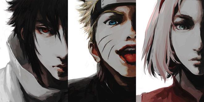 Обои Haruno Sakura / Сакура Харуно, Uchiha Sasuke / Саске Учиха и Uzumaki Naruto / Наруто Узумаки из аниме Naruto / Наруто, by Pixiv Id 5567976