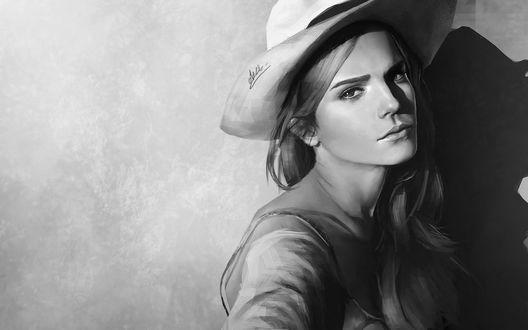 Обои Портрет британской актрисы и фотомодели Эммы Уотсон / Emma Watson