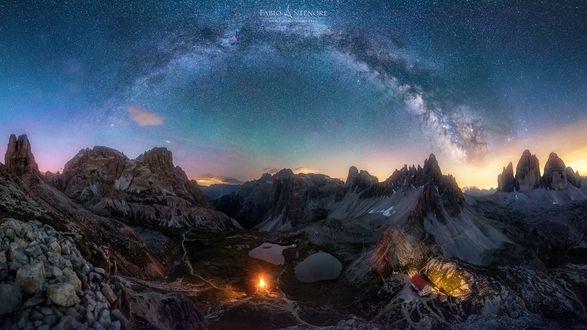 Обои Северное сияние над горными образованиями, фотограф Fabio Antenore