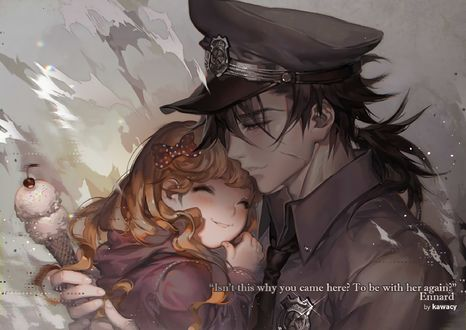 Обои Маленькая девочка прижимается к парню в военной форме, держащего в руке мороженое, art by Kawacy
