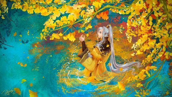 Обои Длинноволосый парень в китайской одежде стоит по пояс в воде и любуется осенними листьями