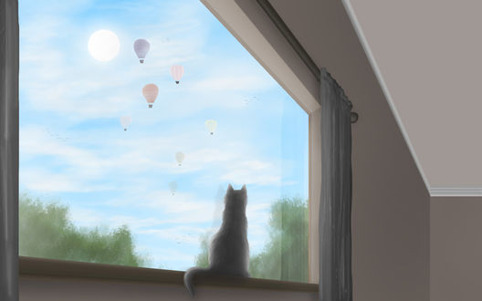 Обои Сидящая кошка на подоконнике смотрит в окно, by Tribalchick101