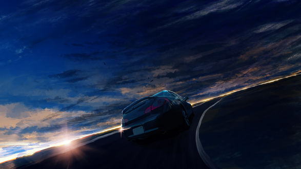 Обои Авто едет по дороге на фоне закатного неба, by Y_Y