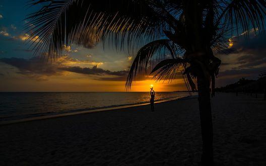 Обои Девушка ловит ладонями заходящее солнце на фоне тропического заката на берегу моря