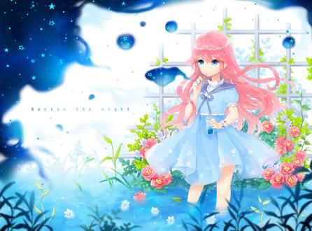Обои Девушка с розовыми волосами в голубом платье стоит в воде, среди цветов, by Honmuri
