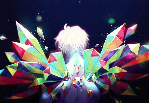 Обои Белокурый парень с крыльями из радужных самоцветов за спиной / Rainbow Gem by Daniiux