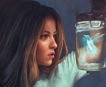 Обои Девушка смотрит на голубую птичку, пойманную в банку, by Mandy Jurgens